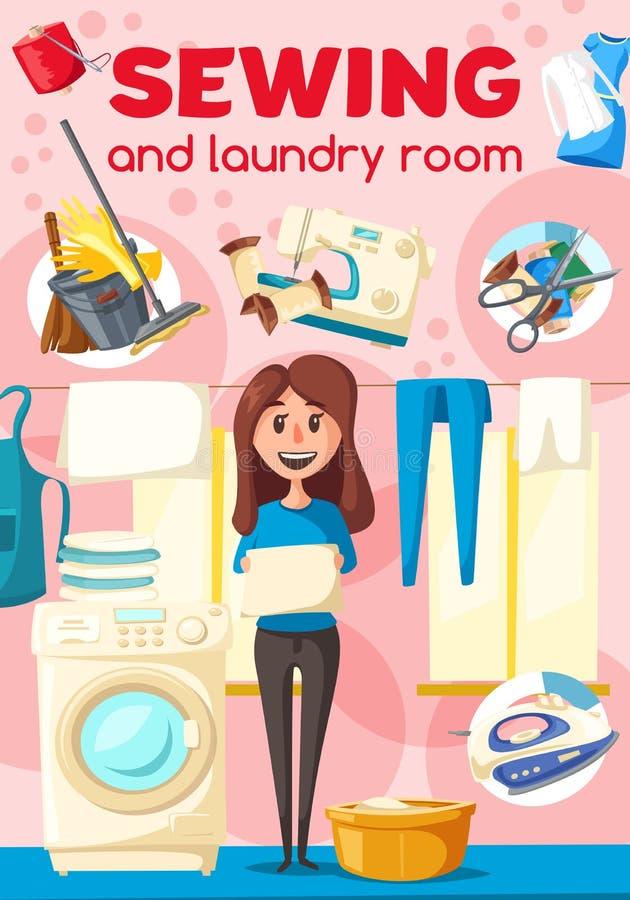 Szyć i pralniany plakat dla suchych czyścicieli usługi ilustracji