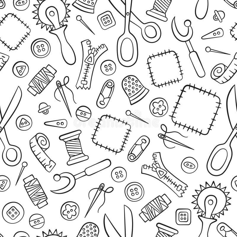 Szyć i uszycie Narzędzia i akcesoria Bezszwowy wzór w doodle i kreskówki stylu liniowy royalty ilustracja