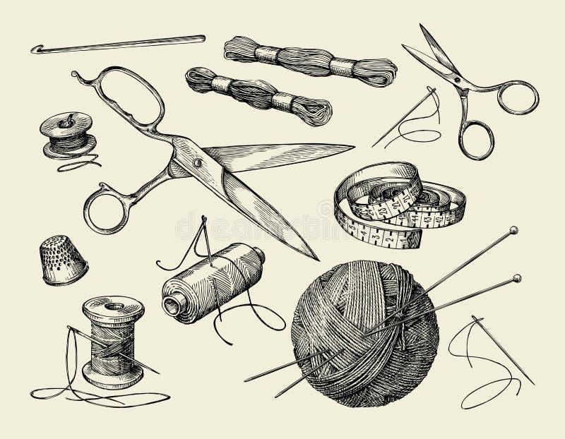 szyć pojęć Wręcza patroszoną nić, igła, nożyce, piłka przędza, dziewiarskie igły, szydełkowe również zwrócić corel ilustracji wek royalty ilustracja