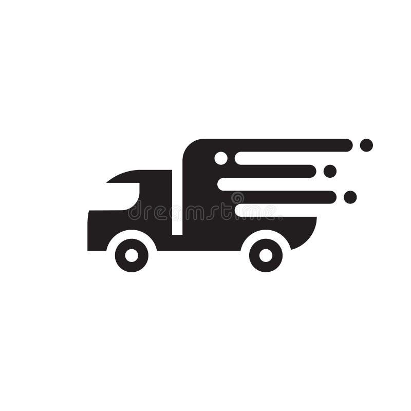 Szybka doręczeniowa wysyłka - czarnej ikony wektorowy projekt Przewieziony ciężarówka znak ilustracji
