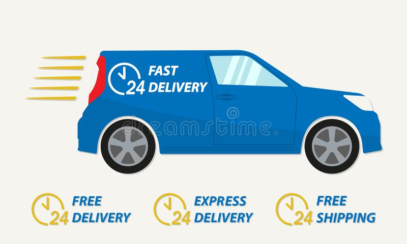 Szybka doręczeniowego samochodu ikona z 24 godzina zegarami Pojazd ilustracja z bezpłatną dostawą, ekspresową dostawą lub bezpłat royalty ilustracja