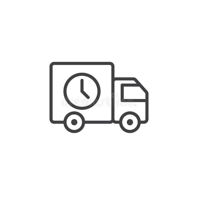 Szybka dostawa, ciężarówki kreskowa ikona, konturu wektoru znak, liniowy piktogram odizolowywający na bielu royalty ilustracja