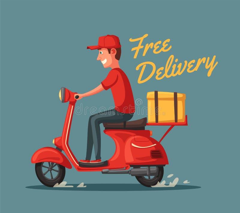 Szybka i bezpłatna dostawa chłopiec kreskówka zawodzący ilustracyjny mały wektor Gastronomia scooter retro royalty ilustracja