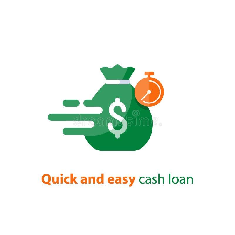 Szybka pożyczka, szybki pieniądze, finanse usługa, aktualna zapłata, stopwatch i pieniądze, zdojesteśmy, wektorowa ikona ilustracji