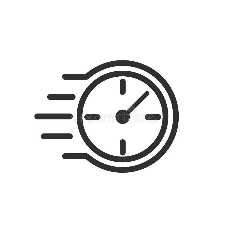 Szybka stopwatch linii ikona Szybki czasu znak Przyśpiesza zegarową symbol pilność, ostateczny termin, czasu zarządzanie, turniej ilustracji