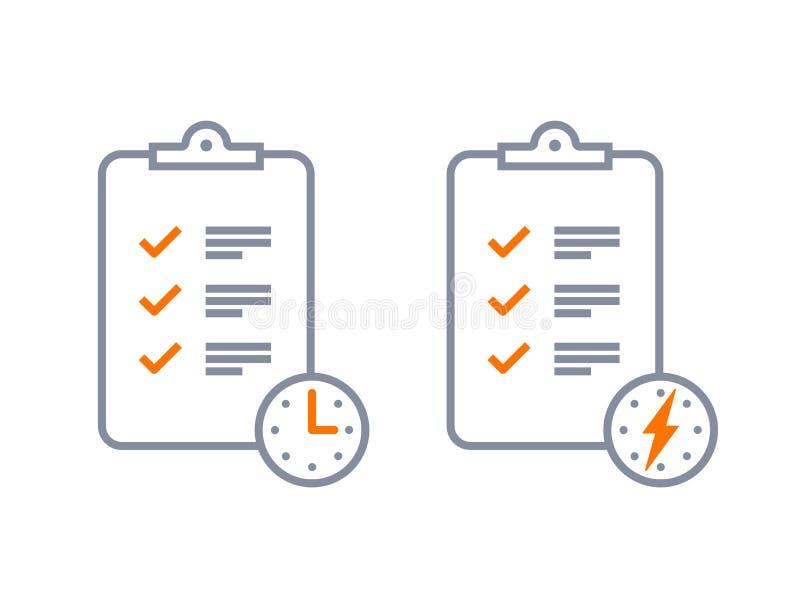 Szybka usługa wytyczne listy kontrolnej ankiety wektoru ikona royalty ilustracja