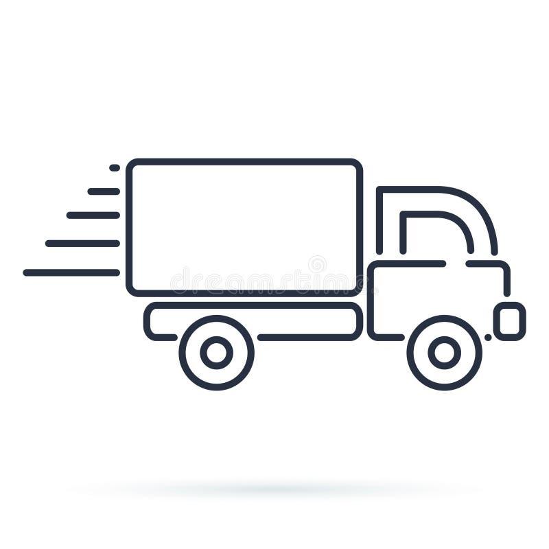 Szybka wysyłki doręczeniowej ciężarówki ikona Wektorowy symbol w mieszkanie stylu ilustracja wektor