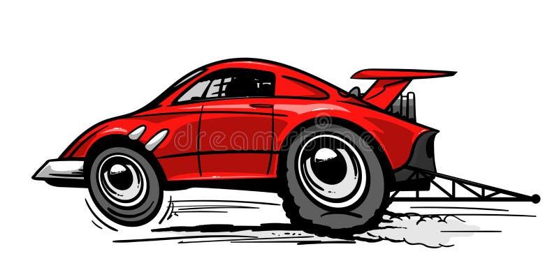 Szybki czerwony dragster samochód ilustracja wektor