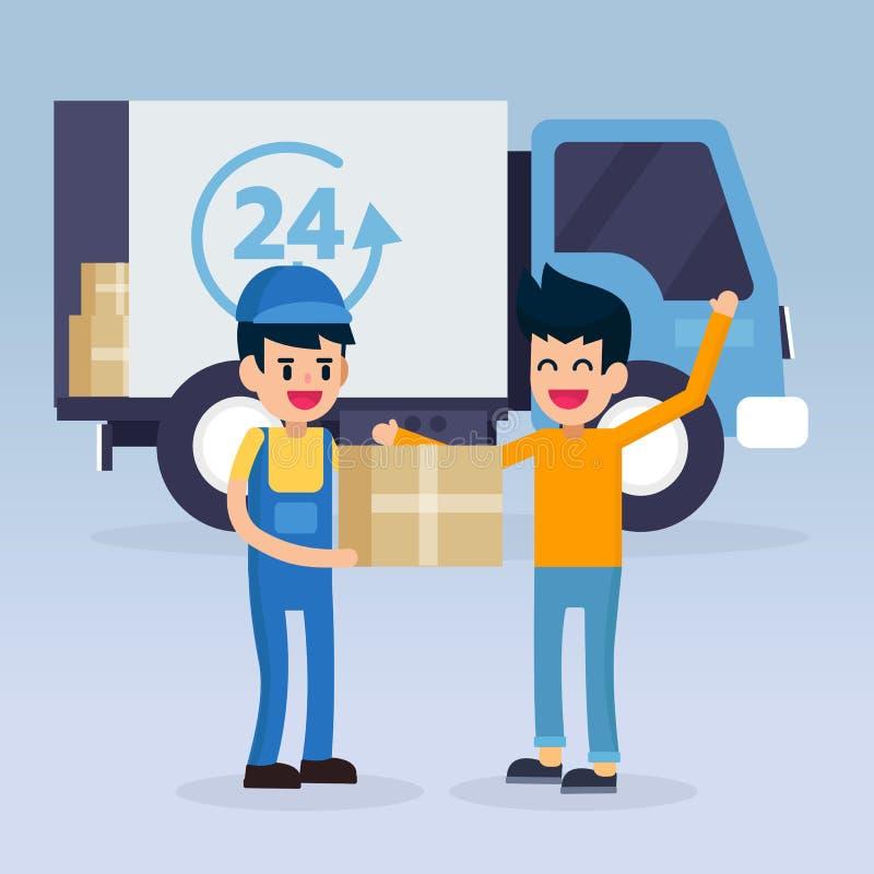 Szybki doręczeniowej usługa mężczyzna pracownik Samochód i Samochód dostawczy royalty ilustracja