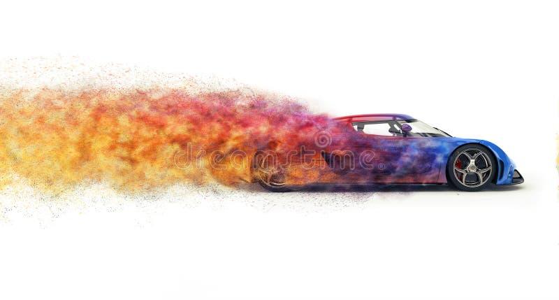 Szybki nowożytny super samochód rozpada się w kolorowe cząsteczki ilustracji