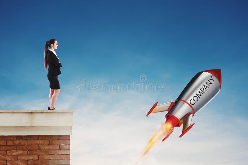 Szybki rakietowy przygotowywający komarnica postu rozpoczęcie nowy firmy pojęcie obraz royalty free