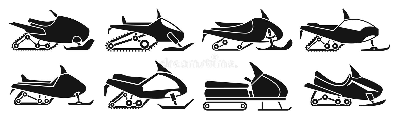 Szybki snowmobile ikony set, prosty styl royalty ilustracja
