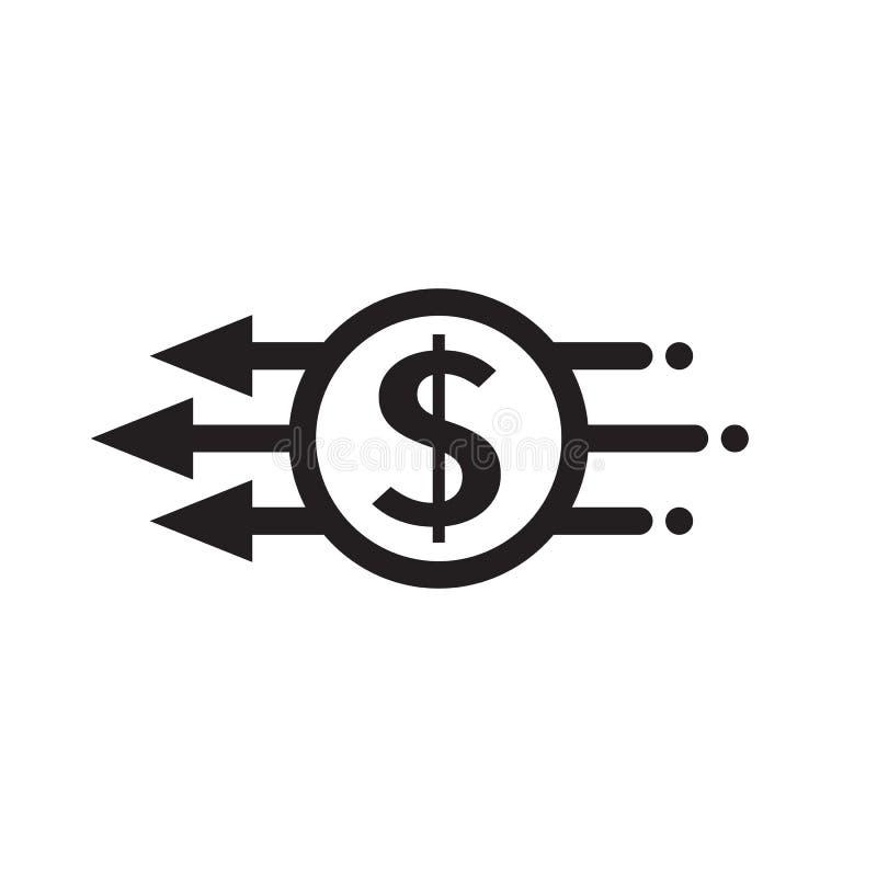 Szybki wynagrodzenie - pojęcie ikony wektorowy czarny projekt Dolarowy pieniądze i strzała kreatywnie symbol Mobilny cyfrowy zapł ilustracja wektor