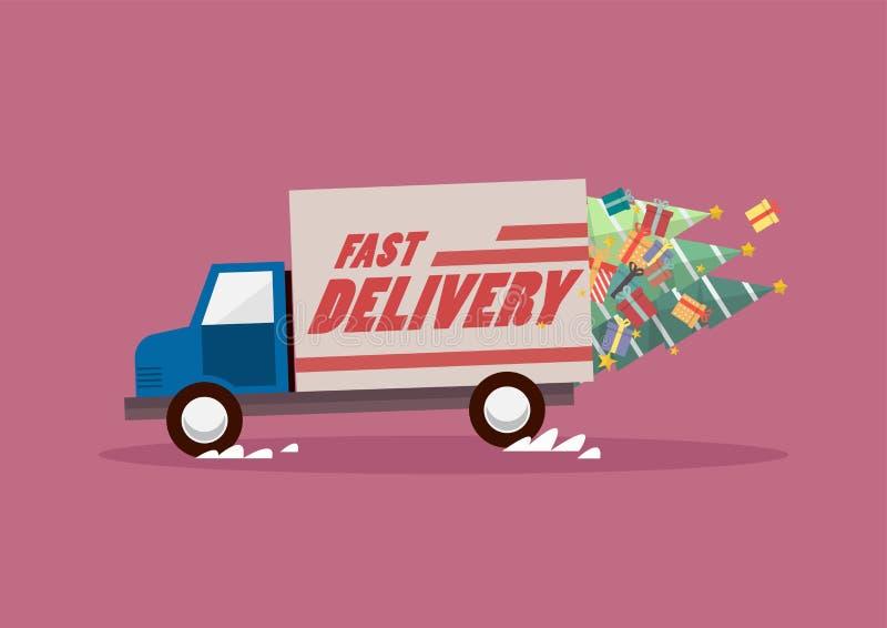 Szybkie doręczeniowej ciężarówki przewożenia choinki i prezenty royalty ilustracja