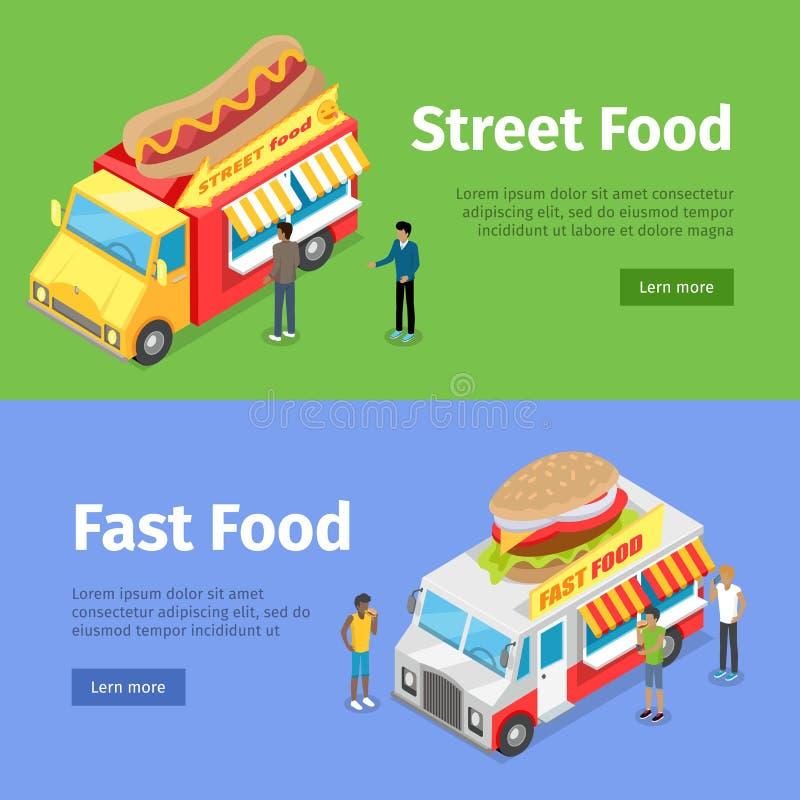 Szybkie i Uliczne Karmowe furgonetki Sprzedaje Hotdogs ilustracja wektor