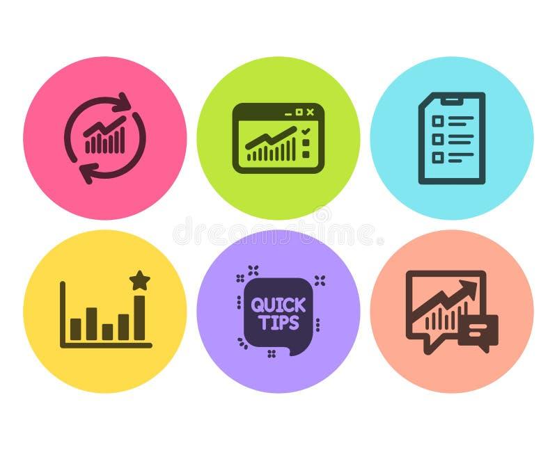 Szybkie porady, sieć ruch drogowy i skuteczność ikony ustawiać, Aktualizacja dane, znaki, listy kontrolnej i księgowości wektor ilustracji