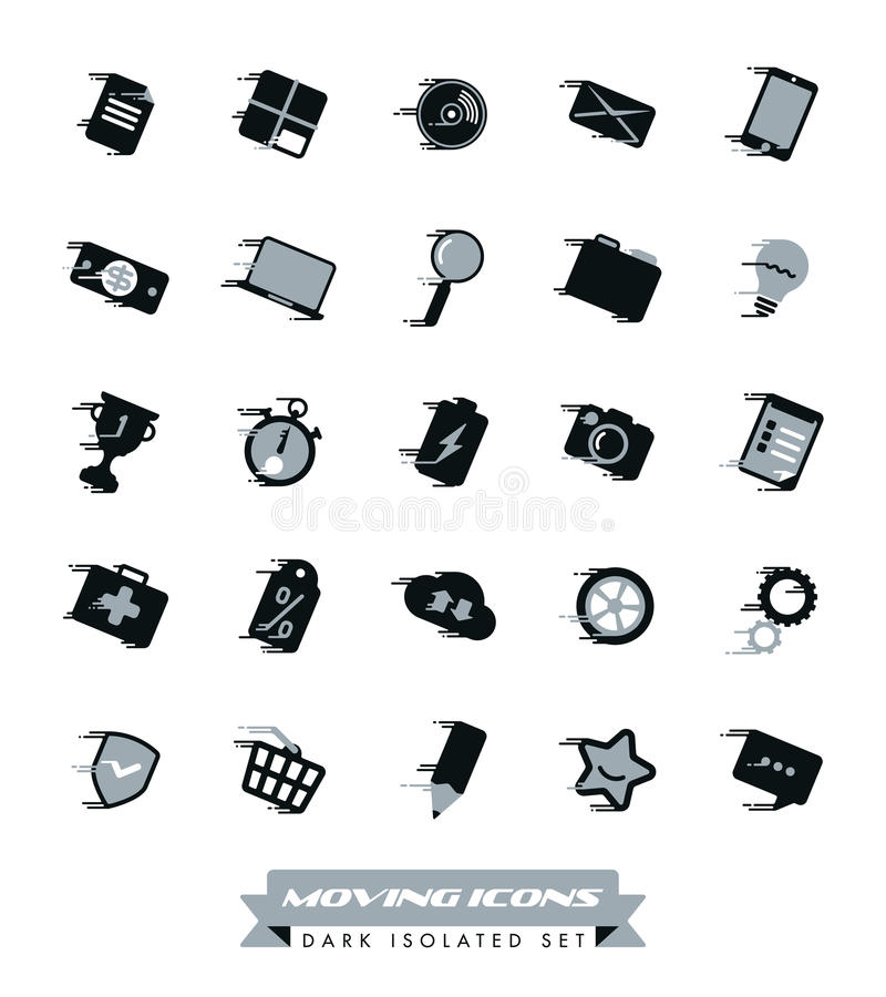 Szybkie Poruszające ikony Inkasowe ilustracja wektor