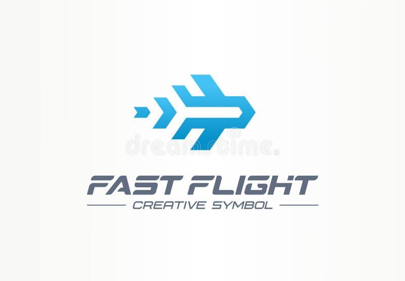 Szybkiego lota symbolu podróży kreatywnie pojęcie Wysokiego prędkość samolotu lotnictwa abstrakcjonistyczny biznesowy logo Dżetow royalty ilustracja
