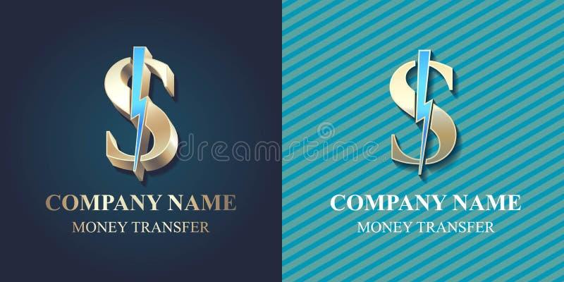 Szybkiego przelewu pieniędzy wektorowy logo, ikona ilustracja wektor