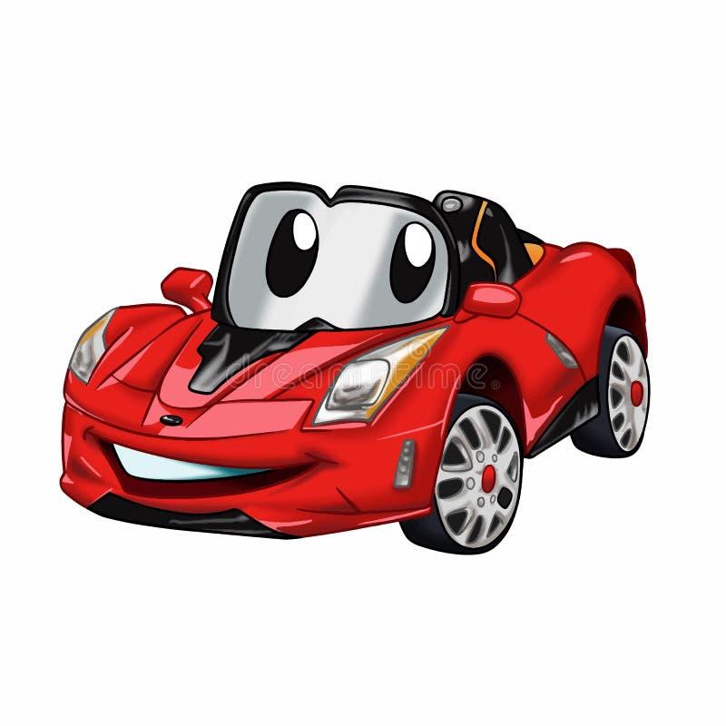 Szybkiego samochodu kreskówka samochody dla dzieciaków - czerwona samochodowa kreskówka - ilustracji