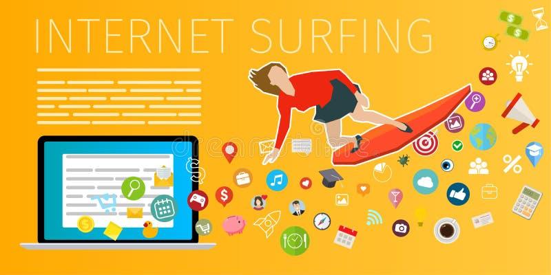 Szybkiej prędkości interneta mobilny surfing royalty ilustracja