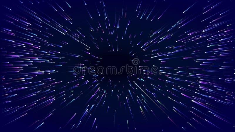Szybkiej ruch hiper- prędkości abstrakcjonistyczny wektorowy tło Ruch linii władzy akcja osnowowy przyśpieszenie skutek royalty ilustracja