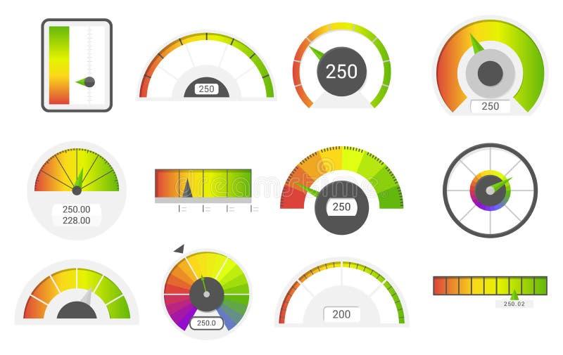 Szybkościomierz ikony Kredytowego wynika wskaźniki Szybkościomierzy towarów wymiernika ratingowy metr Równy wskaźnik, kredytowy p ilustracji