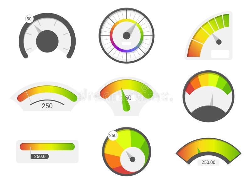 Szybkościomierz ikony Kredytowego wynika wskaźniki Szybkościomierzy towarów wymiernika ratingowy metr Równy wskaźnik, kredytowy p ilustracja wektor