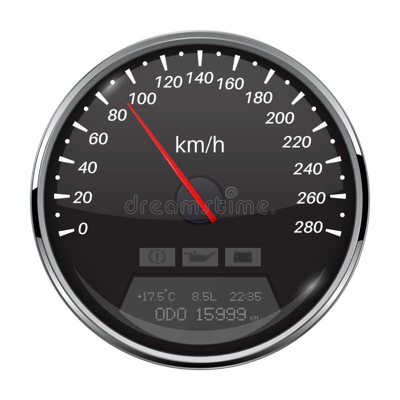 szybkościomierz Czarny prędkość wymiernik z metal ramą 90 km na godzinę ilustracji