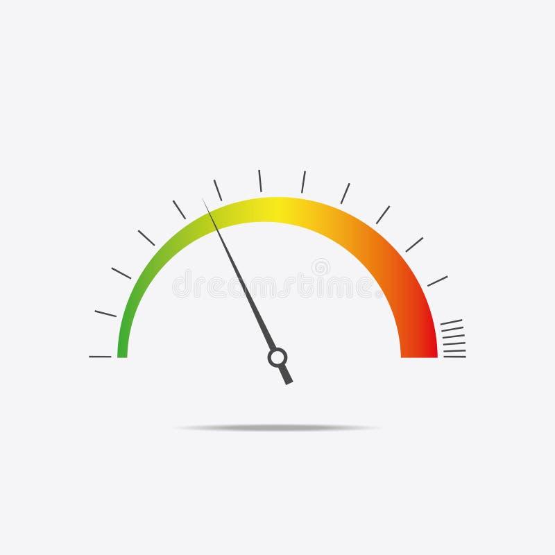 Szybkościomierz ikona Koloru infographics, prędkości tarcza również zwrócić corel ilustracji wektora ilustracji