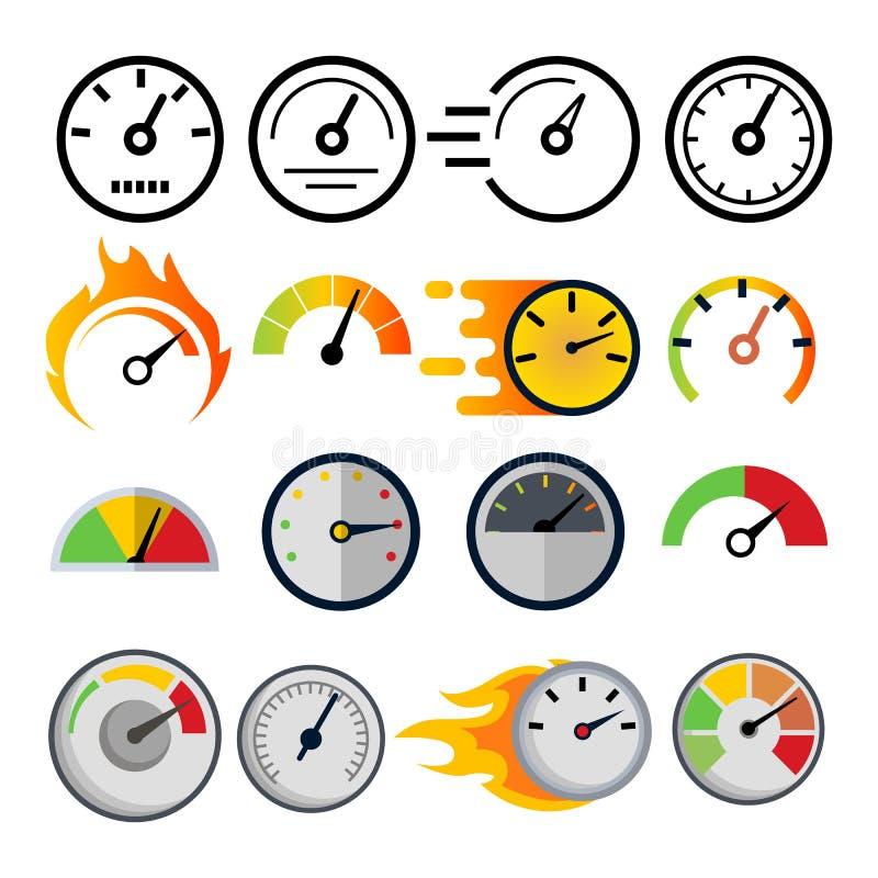 Szybkościomierz ikony Ustalony wektor Prędkość symbol Auto władza Samochodu interfejs Transportu element Szybki wskaźnik ilustracji