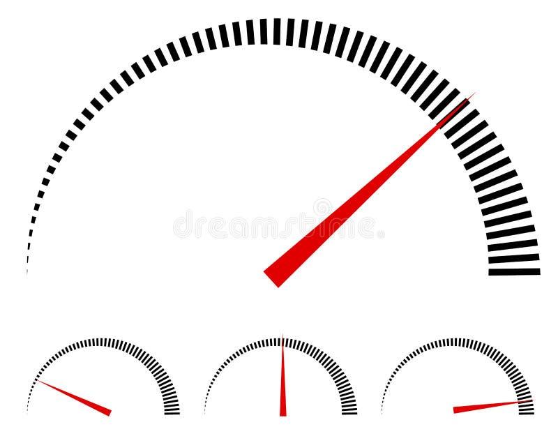 Szybkościomierz lub rodzajowi metry, wymierniki z czerwoną igłą ilustracja wektor