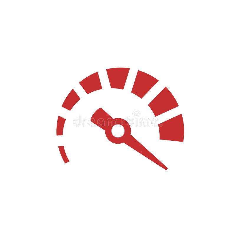 Szybkościomierza logo czerwona ikona Prędkość pomiarowy przyrząd Urządzenie strzała royalty ilustracja