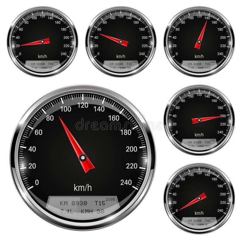 szybkościomierze Czerń wymierniki z metal ramą ilustracja wektor