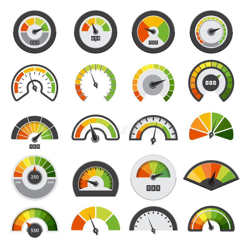 Szybkościomierze inkasowi Symbole prędkość wynika tachometru pozioma wskaźników wektoru pomiarowa kolekcja ilustracji