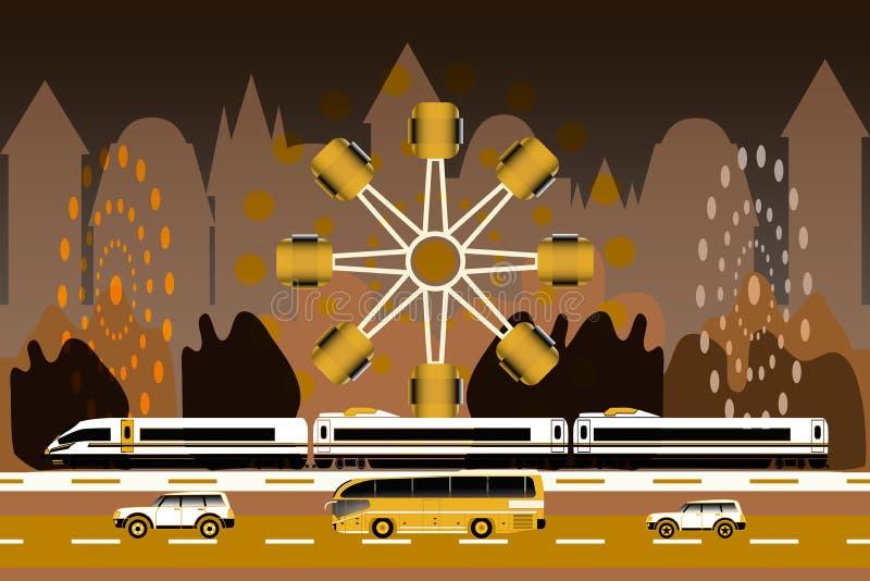 Szybkościowy pociąg, dwa samochodu, autobus, park rozrywki ilustracji