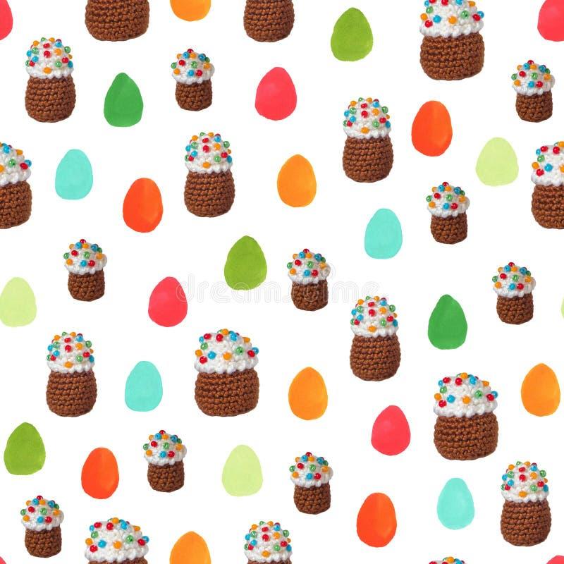Szydełkowi wielkanoc torty i ręka rysujący Wielkanocnych jajek bezszwowy deseniowy tło obraz stock