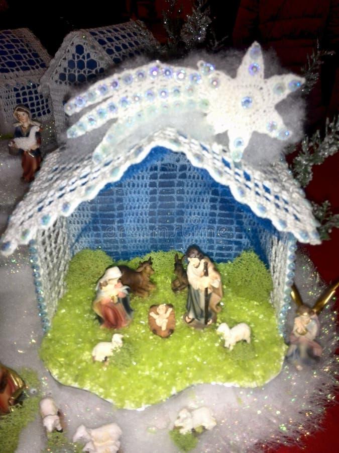 Szydełkowy Bożenarodzeniowy narodzenie jezusa obrazy royalty free