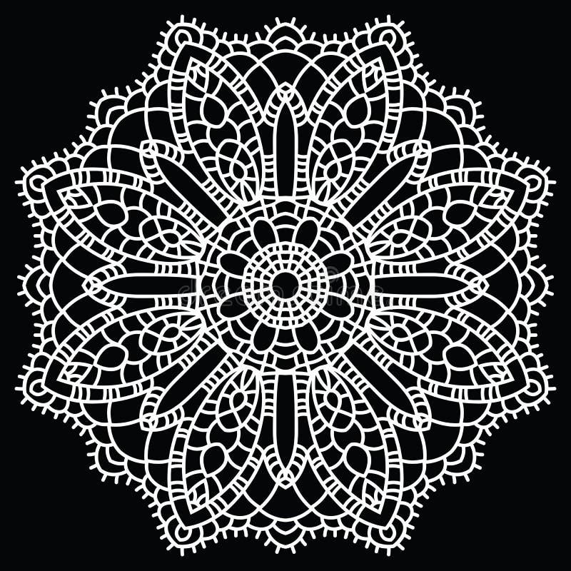 Szydełkuje koronkowy mandala. ilustracji