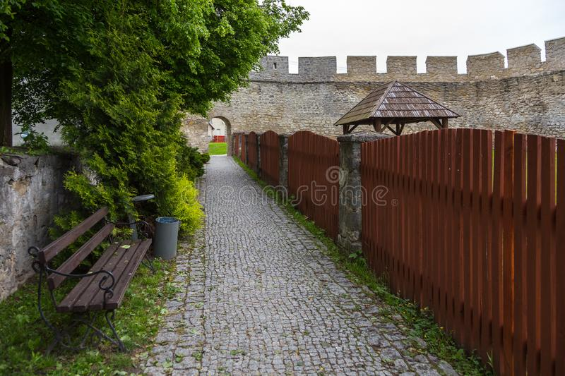 Fragments of city walls, part of the defensive walls, Szydlow, Poland. Szydlow, Poland- 23 May 2015: Fragments of city walls, part of the defensive walls stock photo
