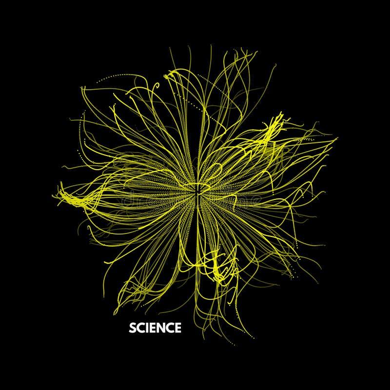 Szyk Z Dynamicznymi cząsteczkami 3d technologii futurystyczny styl abstrakcyjny tło również zwrócić corel ilustracji wektora ilustracja wektor