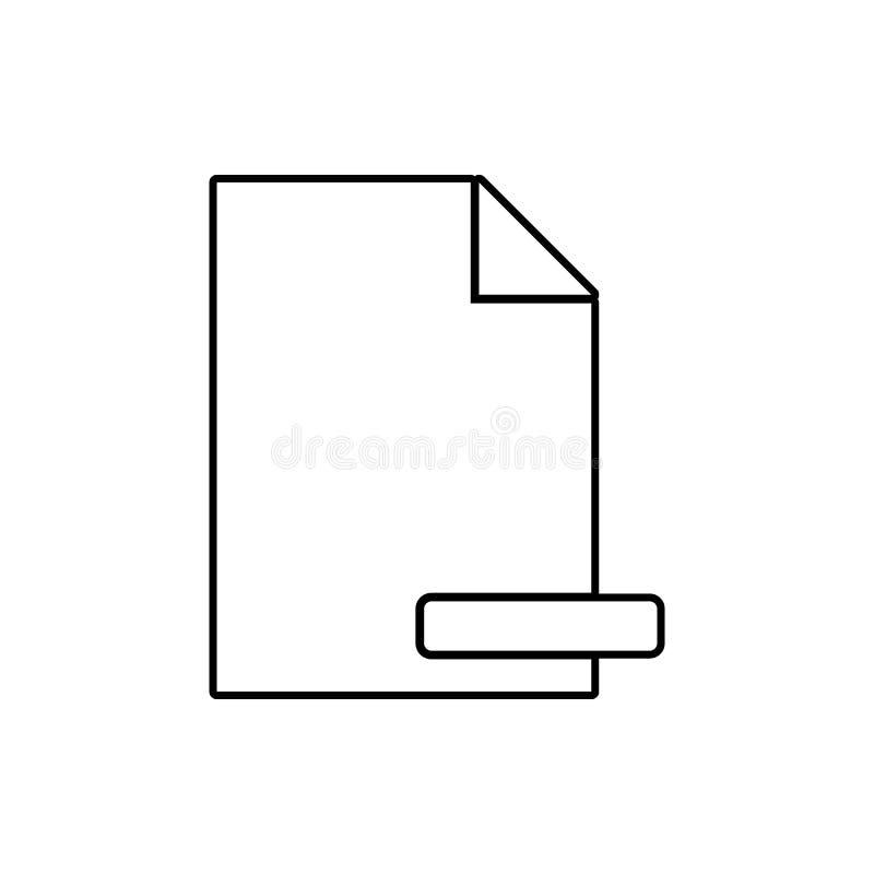 szyldowa deleatur dokumentu ikona Element sieć dla mobilnego pojęcia i sieci apps ikony Cienka kreskowa ikona dla strona internet ilustracja wektor