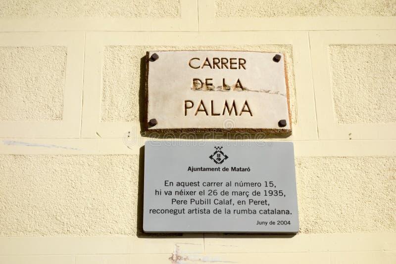 Szyldowa ewidencyjna Ulica Carrer De Los angeles Palma urodzony artysta dokąd Na zdjęcie stock