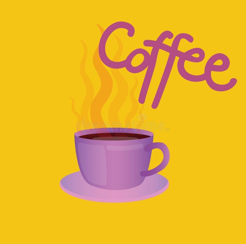 Szyldowa kawa i obrazek filiżanka Ikona dla sieci, etykietka, minimalny dynamiczny projekt, sztandar Ręka rysujący projekta eleme ilustracji
