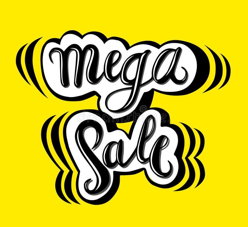 Szyldowa Mega sprzedaż, ikona dla twój sieci, etykietka, ikona, minimalny dynamiczny projekt Limitowanej oferty sprzedaży Mega sz ilustracja wektor