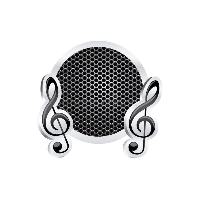 szyldowa muzyczna treble clef ikony ulga z kruszcową ramą z grillem dziurkującym ilustracji