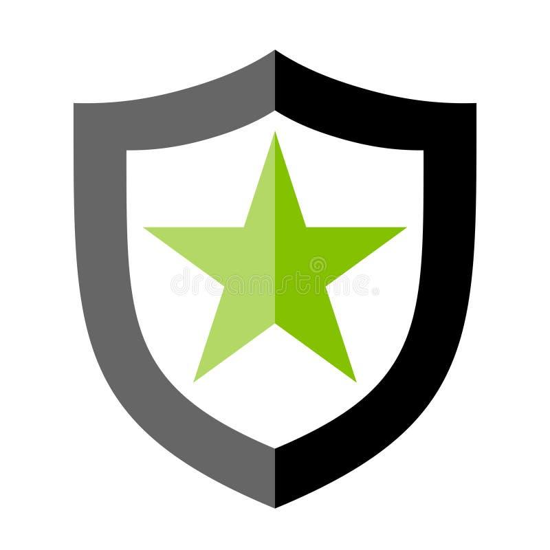 Szyldowa osłona z gwiazdową ikoną jako symbol ochrona royalty ilustracja