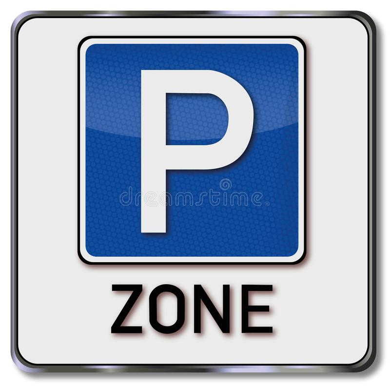 Szyldowa parking strefa ilustracji