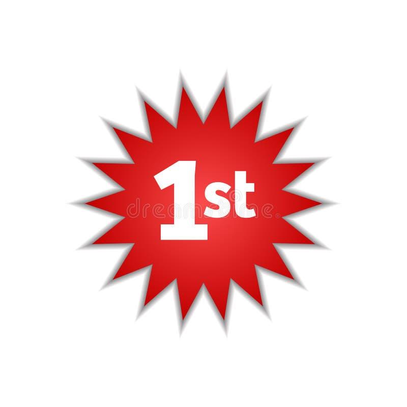 Szyldowa pierwszy gwiazdowa ikona odizolowywający liczby jeden kurendy majcheru odznaki loga projekta elementy ilustracji