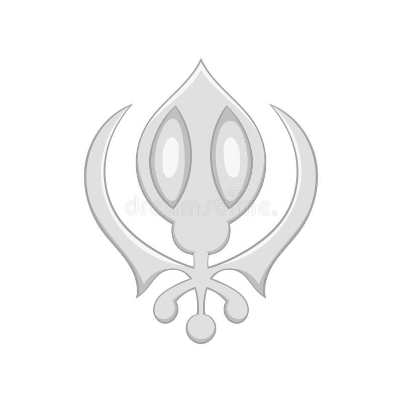 Szyldowa sikhism ikona, czarny monochromu styl ilustracja wektor